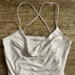 NWOT White Soft A&F Cowl Neck Bodysuit